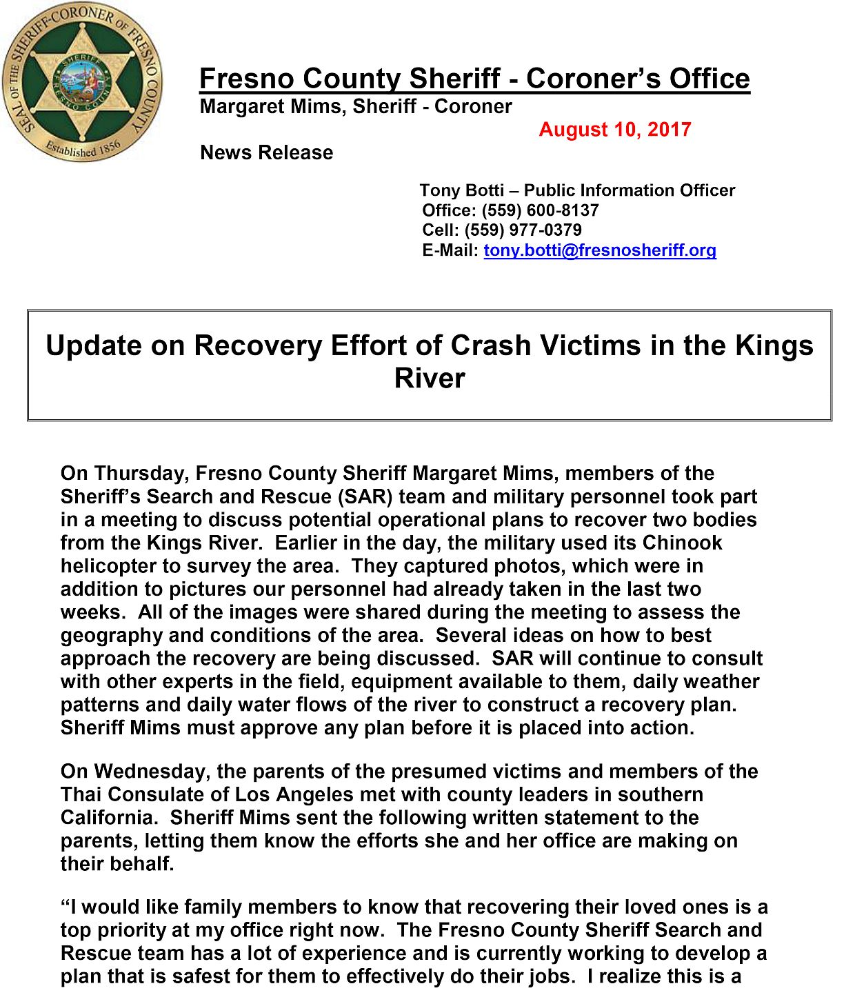 Fresno County Sheriff's Department Update Page 1