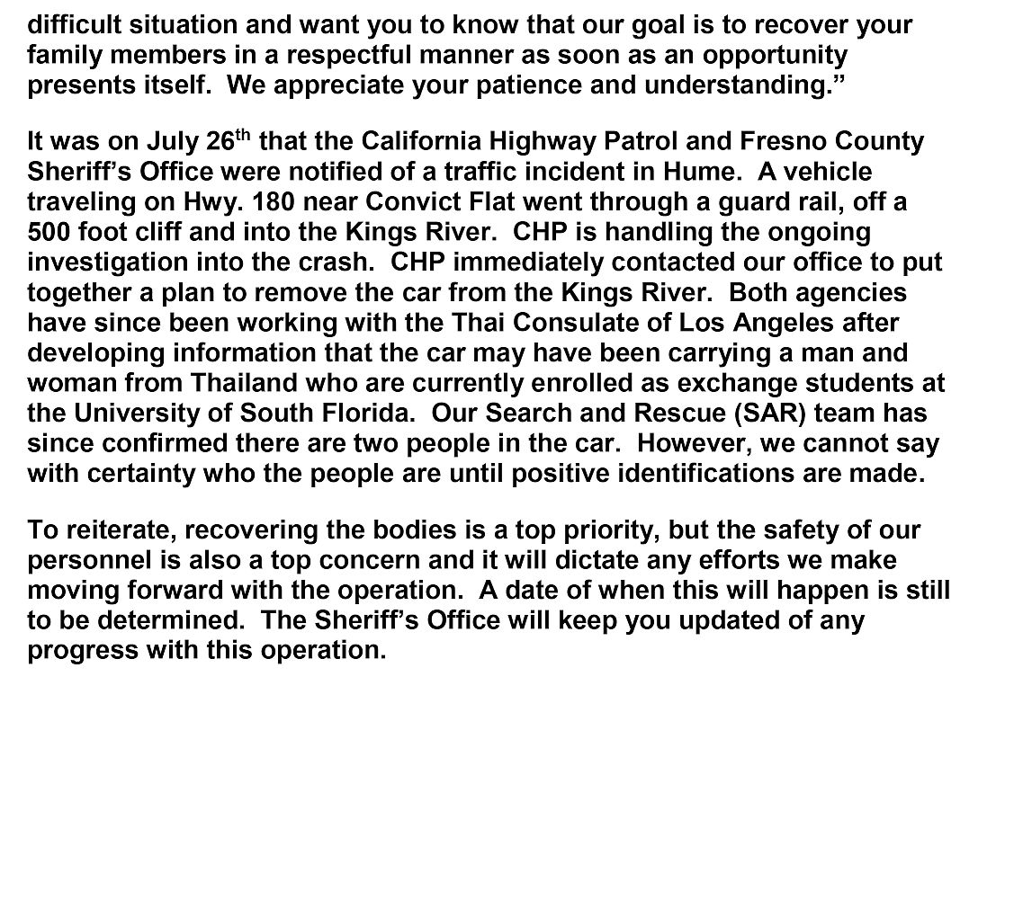 Fresno County Sheriff's Department Update Page 2