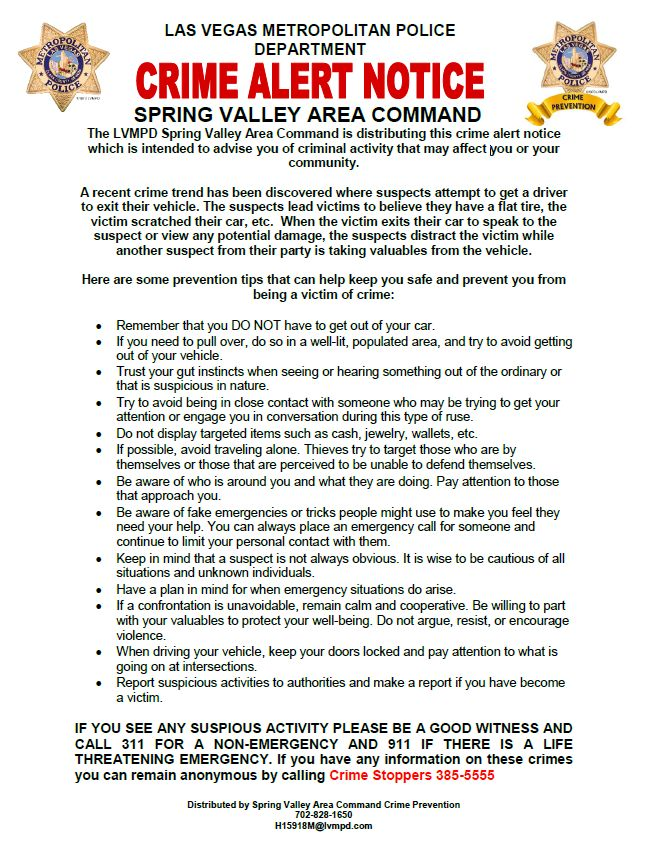 LVMPD Spring Valley Area Command Crime Alert