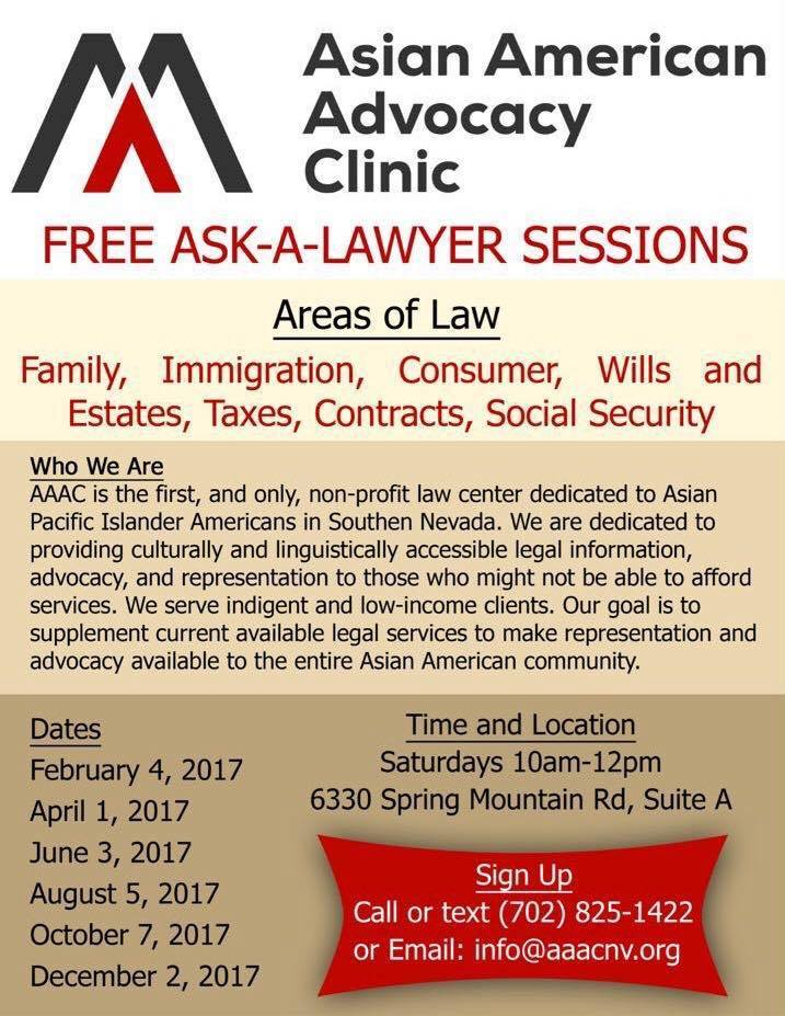 Asian American Advocacy Clinic Schedule