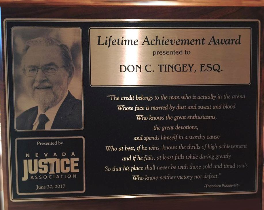 Don C Tingey Lifetime Achievement Award